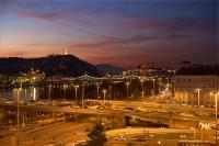 Panoramic view to the river Danube and Gellert hill from Hotel Ibis Styles Budapest City